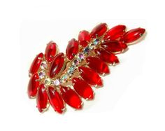 Vintage Large 2 5/8 Red Rhinestone Brooch Pin by SoBejeweled, $50.00