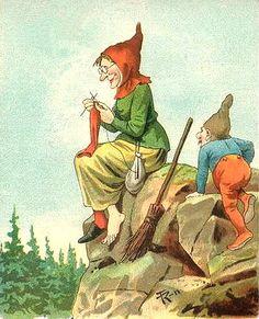 gnome sneeking up on a lady knitter