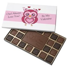 Valentine's Day Owl 45 Piece Assorted Chocolate Box ................This design features a pink valentine's day owl. The TEXT on the left and right can be customized with your own saying. Can be purchased by following the link.
