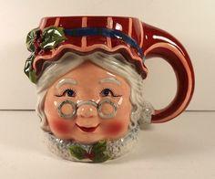 Susan Winget Mrs Claus Christmas Holiday Coffee Cocoa Mug Figural Large  #CertifiedInternational #ChristmasHoliday