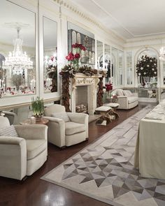 @baccarat & @amylaudesign Holiday House: The luxurious Grand Parlor with Benjamin Moore's White Dove OC-17 in Aura (eggshell finish).