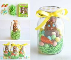 These mason jar Easter gifts are SO EASY and they& so cute! This is such a fun and simple Easter gift idea for your kids, grandkids, friends and coworkers and such an adorable way to give a chocolate bunny! Easter Candy, Easter Treats, Easter Gift, Easter Eggs, Mason Jars, Mason Jar Gifts, Chocolates, Chocolate Bunny, Chocolate Flowers