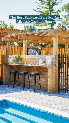 Backyard Bar, Backyard Pool Designs, Diy Backyard Ideas, Patio Ideas, Outdoor Retreat, Outdoor Rooms, Outdoor Living, Bbq Shed, Garden Yard Ideas