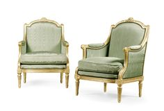 A pair of French Carved Giltwood Bergères in the Manner of François-Honoré Jacob-Desmalter, in the Louis XVI style, First half 19th century.
