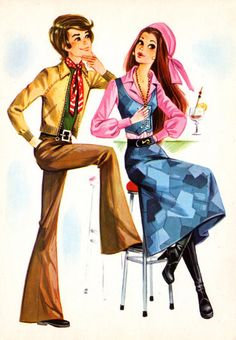 Vintage #postcard #70s. Mod boy and girl sitting at the bar.