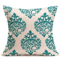 Turquoise and White Pillow Cover