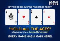 """""""Hold ALL THE ACES"""" playing rummy at JungleeRummy.com. Every game has a gain here!"""