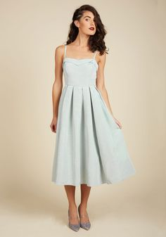 By flaunting this ModCloth-exclusive dress, you command the attention of everyone present at the gala. From its folded collar and buttoned back to its pleated skirt - all exemplified by its muted mint hue - this pleated midi awards you with an evening of laughter and love.