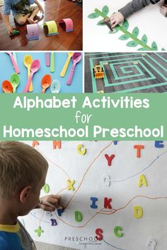 Homeschool preschool is easy and fun when you use hands-on alphabet activities! Kids love learning letters through play, and these activities are perfect for preschool at home. F Alphabet, Alphabet Activities, Motor Activities, Activities For Kids, Preschool Alphabet, Abc Games, Preschool At Home, Learning Letters, Letter Recognition