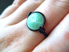 Jadeite Wire Wrapped Ring  Black and Sea foam Green  by JbellsGems, $13.00