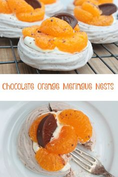 Chocolate Orange meringue nests filled with cream, madarins and grated chocolate orange
