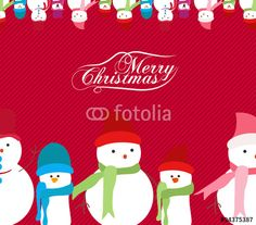 Vector: Merry Christmas snowman background