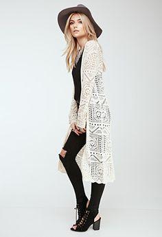 Long lace cardigan.