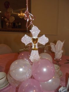 Balloon Cluster Base with Glitter Cross & Chalice Communion Centerpieces, Communion Decorations, Ballon Decorations, Baptism Decorations, Baby Shower Centerpieces, Baby Shower Decorations, First Communion Party, Baptism Party, Balloon Clusters