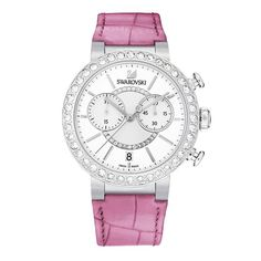 SWAROVSKI Citra Sphere Chrono Pink Stainless Steel Watch - Fashionable and sporty, this colorful timepiece will brighten up your everyday outfits. Swarovski Watches, Swarovski Jewelry, Swarovski Crystals, Outfit Des Tages, Pink Watch, Pink Jewelry, Pink Tone, Watch Sale, Stainless Steel Watch