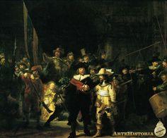 Rembrandt, La ronda de Noche.  1642, Rijksmuseum, Amsterdam. Resaltó a sus ppales. clientes, el capitán y su teniente que habían encargado el cuadro. Les colocó en el centro y los destacó por medio de una iluminación y un color que realza la distinción de sus ropajes y expresiones. Eso hizo que el resto de milicianos que habían pagado por ser representados se ofendieran. La asunción de una identidad colectiva no impedía que los grupos fueran espacios  de poder en sí mismos.