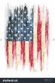 t-shirt graphics / Vintage watercolor of American flag, Photo illustration / men's t-shirt illustration