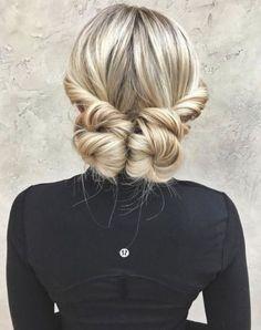 Long hair updo hairstyle blonde low bun