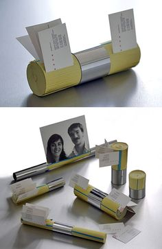 Recycled phone book card/photo holder