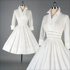 Vintage 1950s Dress White Cotton French by millstreetvintage, $145.00