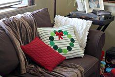 christmas wreath diy pillow