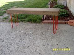 salvaged, reclaimed, industrial and steel  bench coffee table entry way eames hairpin legs 48""