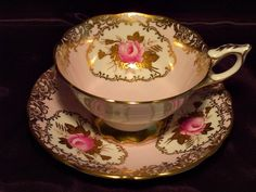 Royal Stafford Cabinet Tea Cup & Saucer ~ Pink Rose Cartouche on Powder Pink, RUBY LANE $125