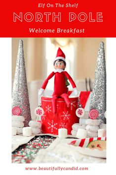 Elf On The Shelf North Pole Breakfast - Christmas Pictures Diy Christmas Tree, Christmas Pictures, All Things Christmas, Disney Christmas, North Pole Pictures, North Pole Breakfast, Small Chalkboard, Extra Holidays, Holiday Gift Baskets
