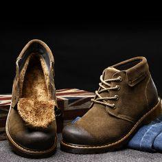 Cálido hombres del cuero genuino Suede Boots Moda Invierno Martins Botas  para los zapatos de hombre a2a51c03a9f