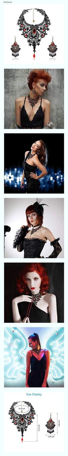 SEELOK 3Stk Schwarze Spitze Halskette mit Ohrringe Set, Gothic Schmuck Red Kette Lolita Anhänger Spitzenarmband Steampunk Cosplay Kostüm Zubehör für Hochzeit Valentinstag Halloween - 1570