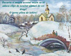 Felicitare de iarna cu oras desenat
