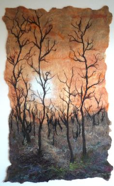 Trees at Sundown x di pattinson felt/textile artist Tea Bag Art, Felt Tree, Felt Pictures, Needle Felting Tutorials, Quilt Modernen, Wool Art, Landscape Quilts, Sewing Art, Wet Felting