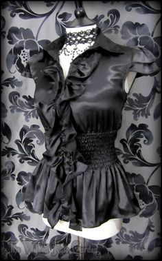 Gothic Victorian Black Satin Ruffle Front Governess Blouse 10 Elegant Goth | THE WILTED ROSE GARDEN