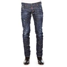 Dsquared2 Distressed Slim-Fit Denim Jeans (790 CAD) ❤ liked on Polyvore featuring jeans, blue, slim fit jeans, faded blue jeans, distressed jeans, distressing jeans and mens jeans