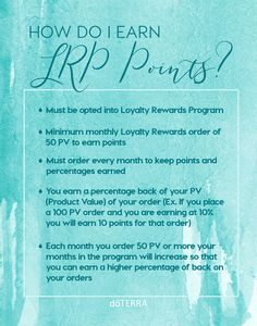 Learn how to earn LRP points to redeem free doTERRA product!