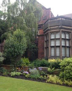 Newcastle University building and well-tended beds and lawns. July 2014.