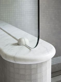 Love this Art Deco inspired shower screen in modern bathroom | SJB Interiors
