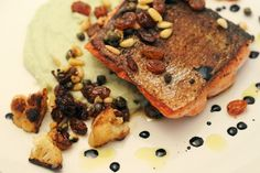 Pan-Seared Salmon over Fennel Cauliflower Puree with Sweet Mediterranean Relish from Mike's Table Cauliflower Puree, Pan Seared Salmon, Fennel, Fish Recipes, Seafood, Side Dishes, Tasty, Recipe Box, Breakfast
