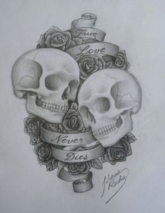 Skull and roses, love never dies tattoo sketch Skull Couple Tattoo, Skull Tattoos, Couple Tattoos, Sleeve Tattoos, Tatoos, Tattoo Sketches, Tattoo Drawings, I Tattoo, Spider Web Tattoo
