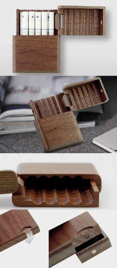 Black Walnut Wooden Cigarette Case Box Holder
