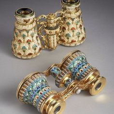 """treasures-and-beauty: """" Two sumptuous pairs of opera glasses, one carved from ivory and decorated with gold and enamel by Georges Le Sache, the other gold, enamel and gem-set by Lucien Falize """" Goblin-made opera glasses commissioned by frequent..."""