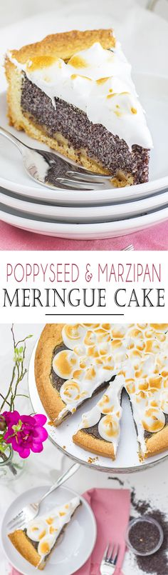 Poppyseed and Marzipan Meringue Cake | Mohn und Marzipan Kuchen mit Baiser