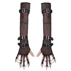 Xena Gothic Gloves by Devil Fashion ($35) ❤ liked on Polyvore featuring accessories, gloves, mesh gloves, goth gloves and gothic gloves
