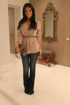 cute for fall... belt a button up sweater & add dark wash jeans