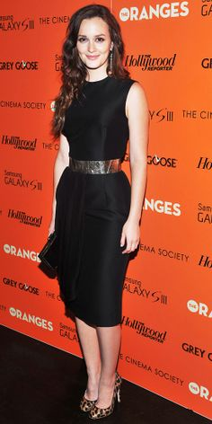 Meester hit a Cinema Society screening of The Oranges in a Giambattista Valli silk dress and Jerome C. Rousseau leopard pumps.