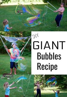 How to Make GIANT Bubbles Recipe + Bubble Crafts for ALL Ages A GIANT Bubbles Recipe that actually works! I was skeptical at first but I couldn't believe the size of those HUGE bubbles we created! Giant Bubble Recipe, Homemade Bubble Recipe, Homemade Bubbles, Bubble Crafts, Bubble Diy, Outside Activities For Kids, Summer Activities For Kids, Summer Games, Bubble Activities