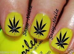 Yellow / Black pot leaf nail design