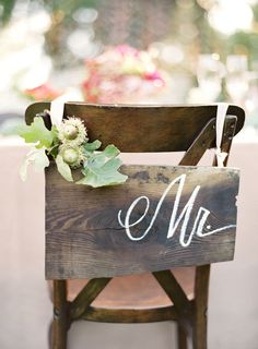 Wooden chair signs for rustic wedding decor