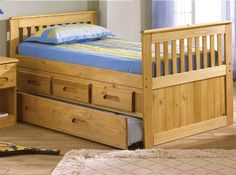 KIDS TWIN SIZE CAPTAINS BED WITH STORAGE DRAWERS & TRUNDLE BED