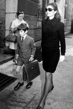 Jackie Kennedy Style | jackie kennedy style - off to school with John Jnr.jpg